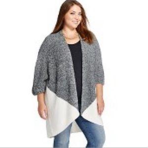 Plus Size Merona Open Gray/ White Cardigan